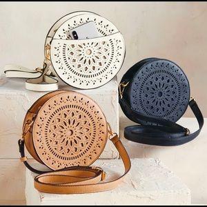 Mud Pie Round Leather Canteen Handbag Purse Bag